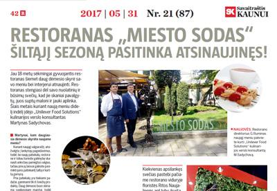 SK, Restoranas MIESTO SODAS šiltąjį sezoną pasitinka atsinaujinęs!