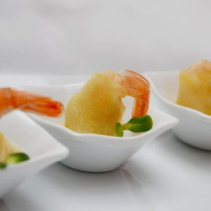 Karališka krevetė su gorgonzolos sūriu filo tešlos krepšelyje